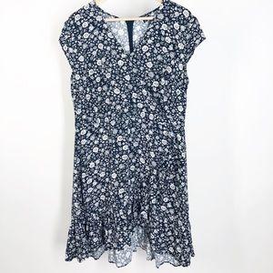 J. Crew Mercantile Blue Floral Rayon Wrap Dress